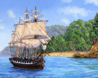 Caribbean Ship Oil Painting