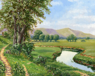 Distant Hills Oil Painting